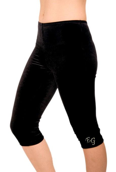 capri legging aus samt schwarz mit initialen turnen. Black Bedroom Furniture Sets. Home Design Ideas